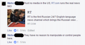 memehumor:  Absolutely no reason!: WalterTrust no media in the US, RT.com runs the real news  IMO  RT  RT is the first Russian 24/7 English-language  news channel which brings the Russian view  Like 1-5 hrs Edited  Walter  here  Like 1-5 hrs  They have no reason to manipulate or control people memehumor:  Absolutely no reason!