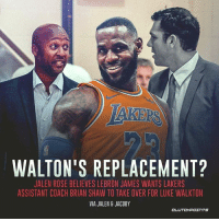 WALTON'S REPLACEMENT?  JALEN ROSE BELIEVES LEBRON JAMES WANTS LAKERS  ASSISTANT COACH BRIAN SHAW TO TAKE OVER FOR LUKE WALKTON  VIA JALEN 8 JACOBY LeBron's choice for Luke Walton's replacement 😳