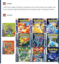 """Pokemon, The Game, and Tumblr: waluigf  I wish they'd make a Pokemon Go app but so you don't have to go outside. Like  if you could just catch the Pokemon by moving the avatar in the game around  tronikart  ERTF  MERAUDE  APPHIRE  ERSION <p><a href=""""http://pokemon-gogogo.tumblr.com/post/149293802751/when-you-play-pokemon-go-but-youve-also-lived"""" class=""""tumblr_blog"""">pokemon-gogogo</a>:</p>  <blockquote>When you play Pokemon Go but you've also lived under a rock the past 20 years<br/><p><a href=""""http://pokemonfans.net/"""">POKEMONFANS.NET</a></p></blockquote>"""