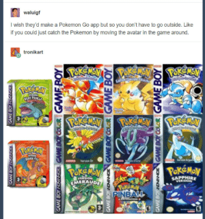 Pokemon, The Game, and Tumblr: waluigf  I wish they'd make a Pokemon Go app but so you don't have to go outside. Like  if you could just catch the Pokemon by moving the avatar in the game around  tronikart  APPHIRE  EMERAUD pokemon-gogogo:  When you play Pokemon Go but you've also lived under a rock the past 20 yearsPOKEMONFANS.NET
