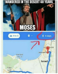 Memes, Israel, and Moses: WANDERED IN THE DESERT40 YEARS  MOSES  6 days  ANK  Jerusale  Port Said  Israel  Cairo No Comment..😂