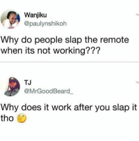 Memes, Work, and Science: Wanjiku  @paulynshikoh  Why do people slap the remote  when its not working???  TJ  @MrGoodBeard  Why does it work after you slap it  tho Top 10 questions science can't answer