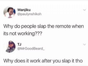 Work, Working, and Why: Wanjiku  @paulynshikoh  Why do people slap the remote when  its not working???  TJ  @MrGoodBeard  Why does it work after you slap it tho Why though ???