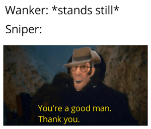 Thank You, Good, and Team Fortress 2: Wanker: *stands still*  Sniper:  You're a good man.  Thank you. I got an idea