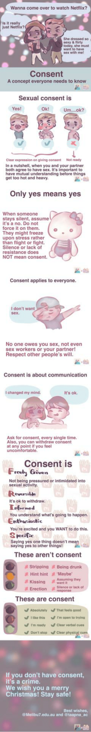 Consent, a concept every single person should know. Drew this piece to explain consent, collaboration with Aids Concern Organisation Hong Kong. Wish you a safe and merry Christmas :) by lovaduck MORE MEMES: Wanna come over to watch Netflix?  Is it really  just Netflix?  She dressed so  sexy & flirty  today, she must  want to have  sex with me!  Consent  A concept everyone needs to know  Sexual consent is  Yes!  Ok!  Um..ok?  Clear expression on giving consent  Not ready  In a nutshell, when you and your partner  both agree to have sex. It's important to  have mutual understanding before things  get too hot and heavy.  Only yes means yes  When someone  stays silent, assume  it's a no. Do not  force it on them.  They might freeze  upon stress rather  than flight or fight.  Silence or lack of  resistance does  NOT mean consent.  Consent applies to everyone.  I don't want  sex.  No one owes you sex, not even  sex workers or your partner!  Respect other people's will.  Consent is about communication  I changed my mind.  It's ok.  Ask for consent, every single time.  Also, you can withdraw consent  at any point if you feel  uncomfortable.  Consent is  Freely Given W  Not being pressured or intimidated into  sexual activity.  Reversible  It's ok to withdraw.  Informed  You understand what's going to happen.  Enthusiastic  You're excited and you WANT to do this.  S pecific  Saying yes one thing doesn't mean  saying yes to other things!  These aren't consent  Being drunk  'Maybe  Stripping  2 Hint hint  Assuming they  want it  Kissing  Silence or lack of  response  A  Erection  These are consent  V Absolutely  That feels good  I like this  V 'm open to trying  V I'm ready  Clear verbal cues  V Don't stop  / Clear physical cues  If you don't have consent,  it's a crime.  We wish you a merry  Christmas! Stay safe!  Best wishes,  @ Melibu7.edu.au and @taapna_ac Consent, a concept every single person should know. Drew this piece to explain consent, collaboration with Aids Concern Organisation Hong Kong. Wish you a safe and merry Christmas :) by lovaduck MORE MEMES