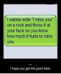 """memes: wanna write """"l miss you""""  on a rock and throw it at  your face so you know  how much it hurts to miss  you.  I hope you get the point here."""