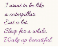 Lats: want to be like  a caterpillar  at a lat  Sleep for a while  wake up beautiful