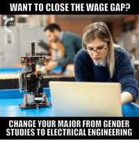 That's A Fair Point! #GameOfLoans: WANT TO CLOSE THE WAGE GAP?  TURNING  POINT USA  CHANGE YOUR MAJOR FROM GENDER  STUDIES TO ELECTRICAL ENGINEERING That's A Fair Point! #GameOfLoans