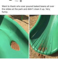 who eating beans at the park?????: Want to thank who ever poured baked beans all over  the slides at the park and didn't clean it up. Very  funny. who eating beans at the park?????