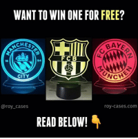 """Football, Memes, and Free: WANT TO WIN ONE FOR FREE?  CHES  BAY  FCB  18  94  CITY  @roy_cases  roy-cases.com  READ BELOW! NEW GIVEAWAY! @roy_cases is giving away a LED football lamp 😱 (any design) Follow the steps below: 1: Follow @roy_cases 2: Like this post 3: Comment """"Done"""" - That's literally it! Good luck everyone 🙏. Winner will be announced on Sunday! (Last time's winner has already been announced ✅) - *We will be checking all entries, no liars 👀"""