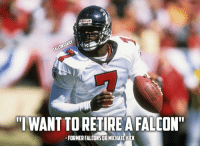 """WANT TORETIRE A FALCON""""  FORMER FALCONSOBMICHAELVICK What do you think Falcons fans? In order for this to happen, the Falcons would have to sign Vick to a ceremonial one-day contract. Vick expressed his desire to retire a Falcon on Dec. 12, and also revealed that he stays in touch with Falcons owner Arthur Blank. RiseUp Falcons AtlantaFalcons MikeVick MichaelVick"""
