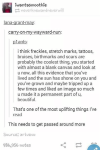 tripped: wantasmoothie  neverknewandneverwill  lana-grant-may:  carry-on-my-wayward-nun:  plants:  i think freckles, stretch marks, tattoos,  bruises, birthmarks and scars are  probably the coolest thing, you started  with almost a blank canvas and look at  u now, all this evidence that you've  lived and the sun has shone on you and  you've grown and maybe tripped up a  few times and liked an image so much  u made it a permanent part of u,  beautiful  That's one of the most uplifting things I've  read  This needs to get passed around more  Source artvevo  986,956 notes