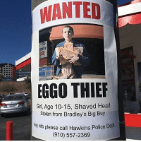 Head, Police, and Girl: WANTED  8e  GGO THIER  Girl, Age 10-15, Shaved Head  Stolen from Bradley's Big Buy  yinfo please call Hawkins Police DepL  (910) 557-2369