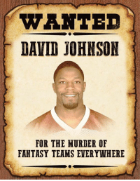 Espn, Nfl, and Credited: WANTED  DAVID JOHNSON  FOR THE MURDER OF  FANTASY TEAMS EVERYWHERE 💀💀💀  LIKE US ESPN FantasyFauxball!  Credit - memesofnfl
