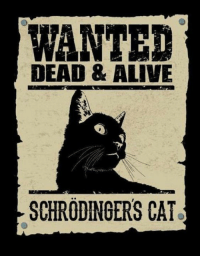 Sorry for the people who do not get it... I of course would never want to see a cat dead. This was an experiment...more like a scenario because it was a hypothetical cat https://en.wikipedia.org/wiki/Schr%C3%B6dinger%27s_cat We always want alive, but you're right in the future we will not joke around about a cat's death, I will be more careful in the future: WANTED  DEAD & ALIVE  SCHRODINGERS CAT Sorry for the people who do not get it... I of course would never want to see a cat dead. This was an experiment...more like a scenario because it was a hypothetical cat https://en.wikipedia.org/wiki/Schr%C3%B6dinger%27s_cat We always want alive, but you're right in the future we will not joke around about a cat's death, I will be more careful in the future