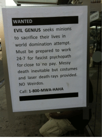 Work, Death, and Genius: WANTED  EVIL GENIUS seeks minions  to sacrifice their lives in  world domination attempt.  Must be prepared to work  24-7 for fascist psychopath  for close to no pay. Messy  death inevitable but costumes  and laser death rays provided.  NO Weirdos.  Call: 1-800-MWA-HAHA Help wanted
