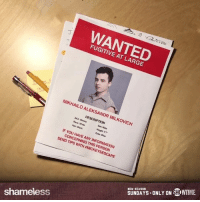 🚨 🚨 🚨: WANTED  FUGITIVE AT LARGE  MIKHAILO ALEKSANDR MILKOVICH  DESCRIPTION  AKA: Mickey  Sex: Male  Race: white  Height: ST  Hair: Black  Eyes: Blue  IF YOU HAVE ANY INFORMATION  CONCERNING THIS PERSON  SEND TIPS WITH #MICKEYSESCAPE  SUNDAYS-ONLY ON L.WIIME  NEW SEASON  shameless  J  U 🚨 🚨 🚨