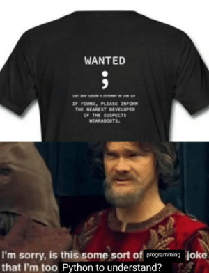 "print(""funny""): WANTED  IF FOUND, PLEASE INFORM  THE NEAREST DEVELOPER  OF THE SUSPECTS  WEARABOUTS.  I'm sorry, is this some sort of programming joke  that I'm too Python to understand? print(""funny"")"