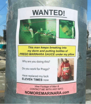 Work, My Pillow, and Sauce: WANTED!  This man keeps breaking into  my dorm and putting bottles of  PREGO MARINARA SAUCE under my pillow  Why are you doing this?  Do you work for Prego?  Have replaced my lock  Prego  ELEVEN TIMES now  View Footage of Man  CONTACT ME WITH ANY INFO:  NOMOREMARINARA.com Meirl