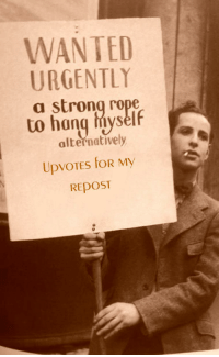 "Image, Strong, and Wanted: WANTED  URGENTLY  a strong rope  to hang hiyself  alternatively  REposT <p>Trying to get upvotes with this format, any suggestions? I believe I'm the first one to use the format but the full original image was on r/dankmemes unedited via /r/MemeEconomy <a href=""https://ift.tt/2jB7zgF"">https://ift.tt/2jB7zgF</a></p>"