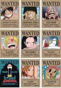 Alive, Anaconda, and Dead or Alive: WANTED WANTED WANTED  NONRETYD  RORONOA ZOR26OD US000  DEAD ORALIVE  DEAD ORALIVE 9  DEADORALIVE  GOD USOPP  MONKEY D LUFFY  B500,000,000-  ciMARINE  320,000,000-  B200,000,000  MARINE  exzzmeMARINE  WANTED WANTED WANTED  ONLY ALIVE  DEADOR ALIVE  DEADOR ALIVE  FRANKY  94,000,000-  SANJI  NICO ROBIN  $177.000.000-130.00o.000-  CCCMARINE  acaonMARINE  MARINE  WANTED WANTED WANTED  DEAD ALIVE  THE  SRBROR  B83,000,000  DEADORALIVE  DEAD OR ALIVE  CHOPPER  6100-  NAMI  666.000,000-  caMARINE Total bounty 1.570.000.100 Berries 😎