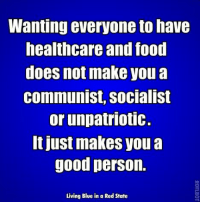 Food, Memes, and Blue: Wanting everyone to have  healthcare and food  does not make you a  communist, socialist  or unpatriotic.  t just makes you a  good person.  Living Blue in a Red State I absolutely agree. Image from Living Blue in a Red State.