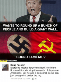 Memes, 🤖, and Sound: WANTS TO ROUND UP A BUNCH OF  PEOPLE AND BUILD A GIANT WALL.  SOUND FAMILIAR?  OCCUPY  DEMOCRATS  Doug Fackler  Everyone mustve forgotten about President  Roosevelt imprisoning thousands of Japanese  Americans. But he was a democrat, so we can  just sweep that under the rug  Yesterday at 7:33 PM 30 (GC)