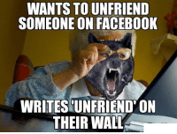 Facebook, Poor, and Insane: WANTS TO UNFRIEND  SOMEONE ON FACEBOOK  WRITESUNFRIEND' ON  THEIR WALT Poor Insane Aunt Irene [FIXED]