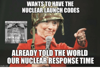 Memes, Time, and World: WANTSTO HAVE THE  NUCLEAR LAUNCH CODES  ALREADY TOLD THE WORLD  OURNUCLEARRESPONSE TIME  imgflip.com (WB) How stupid is she?