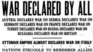 Empire, Struggle, and Target: WAR DECLARED BY ALL  AUSTRIA DECLARES WAR ON SERBIA DECLARES WAR ON  GERMANY DECLARES WAR ON FRANCE DECLARES WAR ON  TURKEY DECLARES WAR ON RUSSIA DECLARES WAR ON  BULGARIA DECLARES WAR ON BRITAIN  OTTOMAN EMPIRE ALMOST DECLARES WAR ON ITSELF  NATIONS STRUGGLE TO REMEMBER ALLIES northerntwats: unofficial-bill-whittle:  thecraigslisthooker: The Onion, 1914 Well they aren't wrong