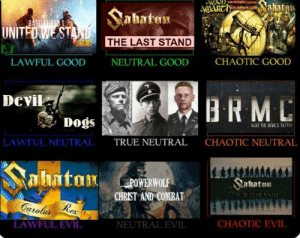 My favorite songs Alignment Chart: wARCH hatan  Thuus  Sabatan  BATTIEFIFLD 1  UNITED WE STAND  THE LAST STAND  NEUTRAL GOOD  CHAOTIC GOOD  LAWFUL GOOD  Devil  BRM  Dogs  BEAT THE BEVIL'S TATTOD  CHAOTIC NEUTRAL  LAWFUL NEUTRAL  TRUE NEUTRAL  LAM  haton  abaton  POWERWOLF  CHRIST AND COMBAT  HEPR COFAMILE  Carolus  Rex  LAWFUL EVIL  NEUTRAL EVIL  CHAOTIC EVIL My favorite songs Alignment Chart
