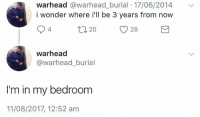 Humans of Tumblr, Wonder, and Burial: warhead @warhead_burial 17/06/2014  i wonder where i'll be 3 years from now  warhead  @warhead_burial  I'm in my bedroom  11/08/2017, 12:52 am