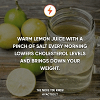 Juice, Memes, and The More You Know: WARM LEMON JUICE WITH A  PINCH OF SALT EVERY MORNING  LOWERS CHOLESTEROL LEVELS  AND BRINGS DOWN YOUR  WEIGHT.  THE MORE YOU KNOW  @FACTBOLT