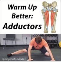 IMPROVE YOUR GROIN MOBILITY The adductors are a tricky muscle to work with. Many of you are tight here, and that tightness can be a major limiting factor when getting into good positions for sport and training.🏋 . Adductor limitations can contribute to: 🔸Chronic or acute groin strains 🔸Knee cave or butt wink in the squat 🔸X-framed or knock knee postures 🔸Difficulty with sumo deadlifts 🔸Collapsed arches or flat feet It doesn't help that it can be really tough to truly get this area warmed up. This used to be one of my biggest mobility limitations so I had to always spend extra time on it before I could train. This is one of my favorite dynamic drills to get the adductors opened up. If you feel any pulling at the knee, regress back to something like the 🐸 frog stretch like I showed last night before going into this one. Perform 15 to 20 dynamic motions and loosen up those inner thighs! Tag a friend with tight adductors and share the wealth! MyodetoxOrlando Myodetox: Warm Up  Better:  Adductors  adr jacob harden IMPROVE YOUR GROIN MOBILITY The adductors are a tricky muscle to work with. Many of you are tight here, and that tightness can be a major limiting factor when getting into good positions for sport and training.🏋 . Adductor limitations can contribute to: 🔸Chronic or acute groin strains 🔸Knee cave or butt wink in the squat 🔸X-framed or knock knee postures 🔸Difficulty with sumo deadlifts 🔸Collapsed arches or flat feet It doesn't help that it can be really tough to truly get this area warmed up. This used to be one of my biggest mobility limitations so I had to always spend extra time on it before I could train. This is one of my favorite dynamic drills to get the adductors opened up. If you feel any pulling at the knee, regress back to something like the 🐸 frog stretch like I showed last night before going into this one. Perform 15 to 20 dynamic motions and loosen up those inner thighs! Tag a friend with tight adductors and share the wealth! MyodetoxOrlando Myodetox
