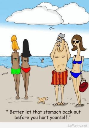 "Funny Beach Cartoon: WARN  "" Better let that stomach back out  before you hurt yourself.""  LeFunny.net Funny Beach Cartoon"