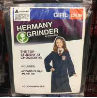 @obviousplant left some fake costumes at the Halloween store. I'm the millennial killer for sure. - - - 9gag halloween: WARNING  KEEP AWAY FROM SMALL  CHIE DREN THE THIN FILM  MAY CLING TO NOSE AND  MOUTH AND PREVENT  BREATHING. THIS BAG IS  GIRL $24.99  HERMANY  GRINDER  by Obvious Plant  THE TOP  STUDENT AT  CHOGBORTS!  INCLUDES:  WIZARD CLOAK  -PLAID TIE  NO LICENSING FEES!  N-BO  SMALL 4-6X @obviousplant left some fake costumes at the Halloween store. I'm the millennial killer for sure. - - - 9gag halloween