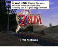 Funny, Legend, and Legends: WARNING: Playing this game  Ewill make every game you play  following this a slight disappointment.  THE LEGEND OF  OCARINA OF TIME  1998 Nintendo