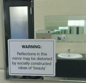 Socially: WARNING:  Reflections in this  mirror may be distorted  by socially constructed  ideas of 'beauty