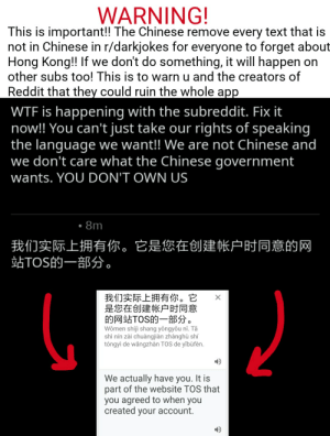 Reddit, Wtf, and Chinese: WARNING!  This is important!! The Chinese remove every text that is  not in Chinese in r/darkjokes for everyone to forget about  Hong Kong!! If we don't do something, it will happen on  other subs too! This is to warn u and the creators of  Reddit that they could ruin the whole app  WTF is happening with the subreddit. Fix it  now!! You can't just take our rights of speaking  the language we want!! We are not Chinese and  we don't care what the Chinese government  wants. YOU DON'T OWN US  8m  我们实际上拥有你。  站TOS的一部分。  它是您在创建  帐户时同意的网  我们实际上拥有你。它  是您在创建帐户时同意  的网站TOS的一部分。  Women shíji shang yongyou ni. Tā  shi nín zài chuàngjiàn zhànghù shí  tóngyi de wăngzhàn TOS de yībufen.  We actually have you. It is  part of the website TOS that  you agreed to when you  created your account. Pls mods don't remove this it's important