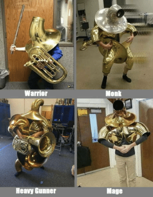 Warrior, Monk, and Mage: Warrior  Monk  Heavy Gunner  Mage Choose your fighter.