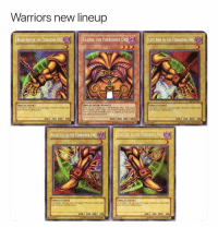 Bailey Jay, Basketball, and Nba: Warriors new lineup  RIGHT ARM OF THE FORBIDDEN ONE EExoDIA THE FORBIDDEN ONEL  LEFT ARM OF THE FORBIDDEN ONE  SPELLCASTERI  SPELLCASTER/ExexI  SPELLCASTERI  your hand, you win the Duel  ATK/ 200 DEF 300  ATK/1000 DEF/1000  ATK7 200 DEFT 300  RIGHT LEG OF THE FORBIDDEN ONE  SPELLCASTER  SPELLCASTERI  ATK/ 200 DEFI 300  ATK/ 200 DEF 300 Obliterate 😂 nba nbamemes warriors yugioh(Via HanYoloSoloDolo-Twitter)