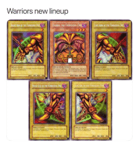 Bailey Jay, Twitter, and Warriors: Warriors new lineup  RIGHT ARM OF THE FORBIDDEN ONE  EXODIA THE FORBIDDEN ONE A  |||LEFT ARM OF THE FORBIDDEN 0NEU  .  [SPEILCASTER]  SPELLCASTER/ENECT  SPELLCASTER  ATKI 200 DEF 300  AT/1000 DEY A000  ATKI 200 DEFZ 300  RIGHT LEG OF THE FORBIDDEN ONE  LEFT LEG OF THE FORBIDDEN ONE  SPLICASTER  [SMILCASTERİ  ATKI 200 DEF/ 300  ATK/ 200 DEFI 0 The Warriors are now Exodia! (Via HanYoloSoloDolo/Twitter) https://t.co/C3idnHU2aV