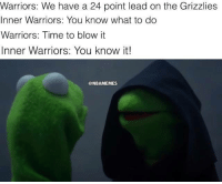 Inner Warriors is savage. #Warriors Nation: Warriors: We have a 24 point lead on the Grizzlies  Inner Warriors: You know what to do  Warriors: Time to blow it  Inner Warriors: You know it!  @NBAMEMES Inner Warriors is savage. #Warriors Nation