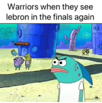 Finals, Lebron, and Warriors: Warriors when they see  lebron in the finals again I hope Lebron gets another ring this year, but it ain't gon happen 😂😂😂😭😭😭