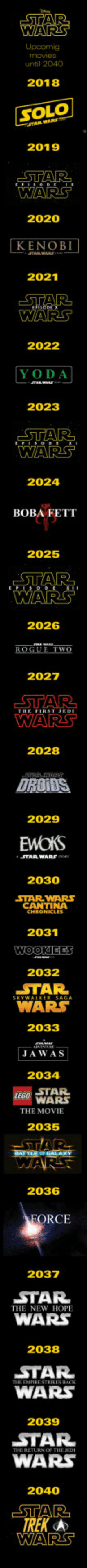 I have a bad feeling about this: WARS  movie3  until 2040  2018  SOLO  2019  2020  KENOB  2021  2022  YODA  2023  2024  BOBA FETT  2025  2026  We  2027  2028  DROIDS  2029  TARWARS  2030  STAR WARS  CANTINA  2031  2032  WAR  2033  JAWAS  2034  STAR  WARS  THE MOVIE  2035  2036  ORCE  2037  STAR  WARS  THE NEW HOPE  2038  STAR  WARS  2039  STAR  WARS  2040  WARS I have a bad feeling about this