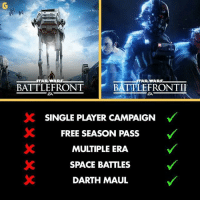 Memes, Free, and Space: WARS  TAR WARS  BATTLEFRONT  EA  SC SINGLE PLAYER CAMPAIGN  FREE SEASON PASS  MULTIPLE ERA.  SPACE BATTLES  DARTH MAUL gamer gaming gamers battlefront battlefront2 starwars eagames starwarsbattlefront instagaming instagamer onlygamers gamersknow onlygamersknow