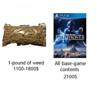 When buying drugs for your kid is safer than...: WART  BATTLEERONT II  1-pound of weed  1100-1800$  All base-game  contents  2100$ When buying drugs for your kid is safer than...
