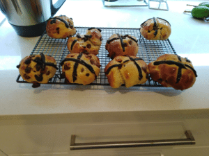 Was bored in quarantine so made hot cross buns!: Was bored in quarantine so made hot cross buns!