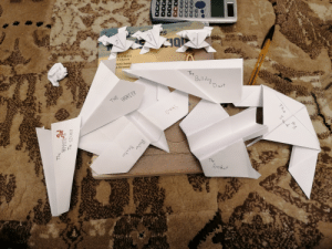 Was going through a manic episode discovered I like origami. So instead of studying math for my midterms, I made paper airplanes and threw them on my sister.: Was going through a manic episode discovered I like origami. So instead of studying math for my midterms, I made paper airplanes and threw them on my sister.