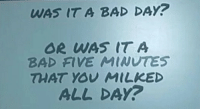 Bad day: WAS IT A BAD DAY?  OR WAS IT A  BAD FIVE MINUTES  THAT YOU MİLKED  ALL DAY?